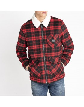 Wool Loco Sherpa Jacket Lee Warp Red